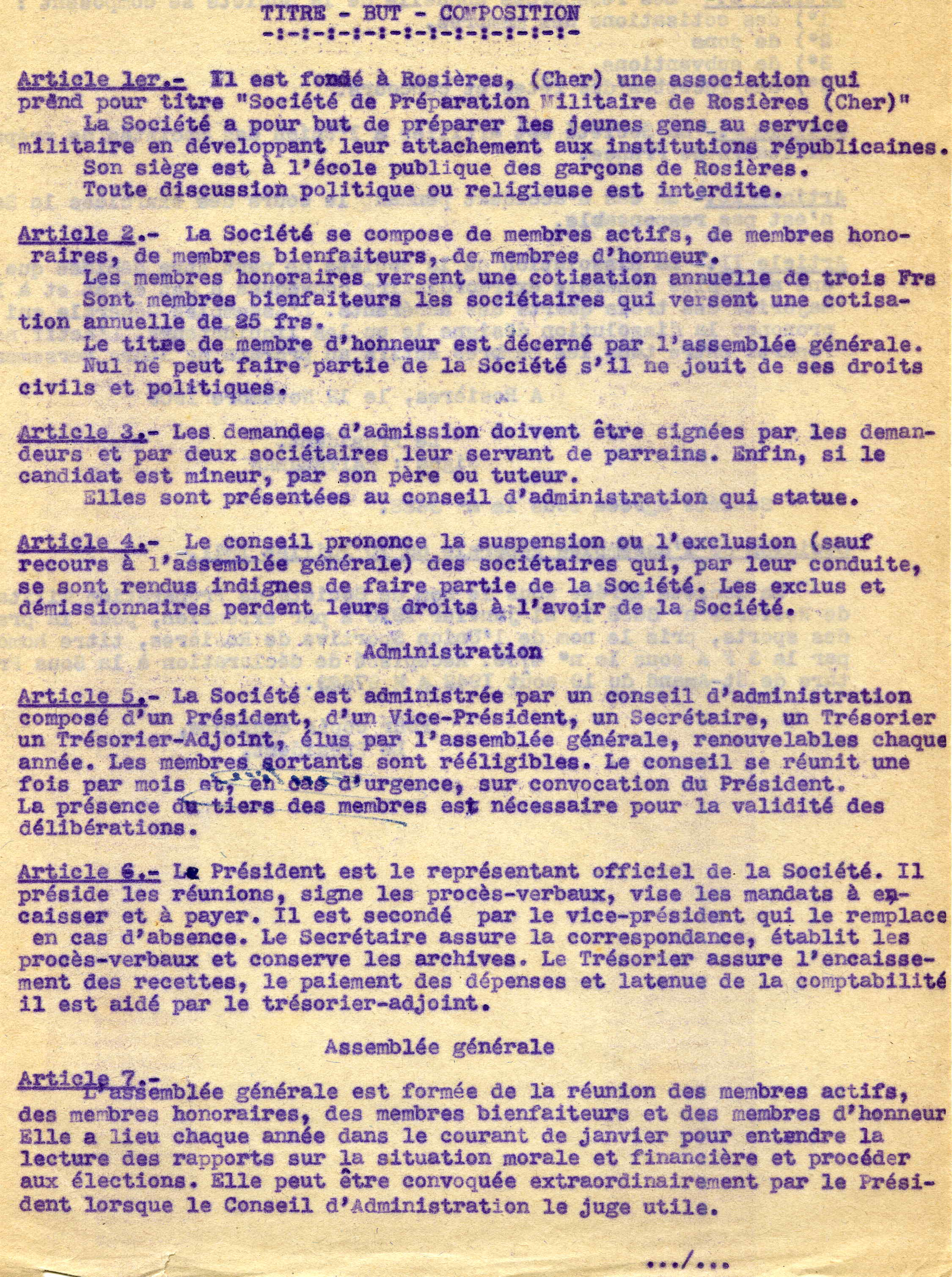Modifications des statuts de l'association en 1942 (articles 1 à 7)