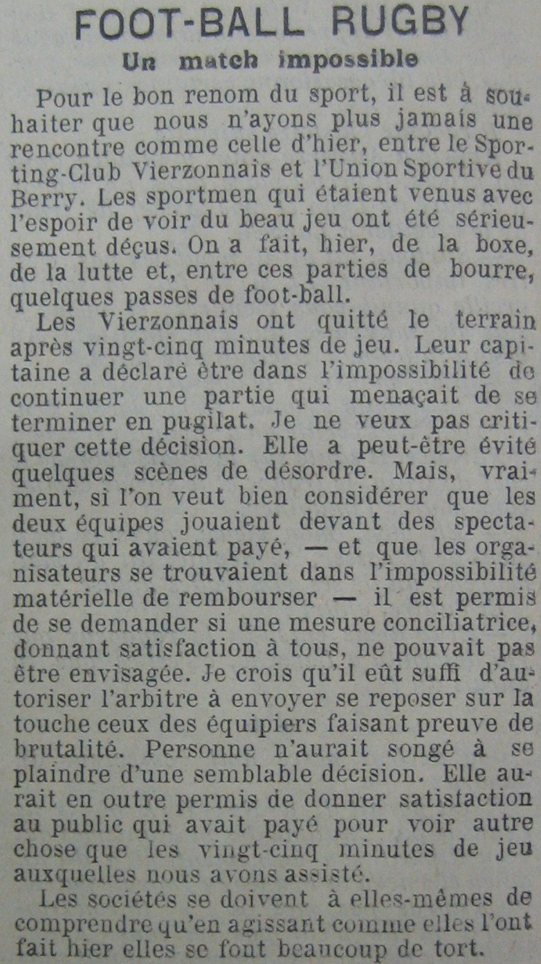 Match interrompu US Berry-CS Vierzon du 14/11/1909