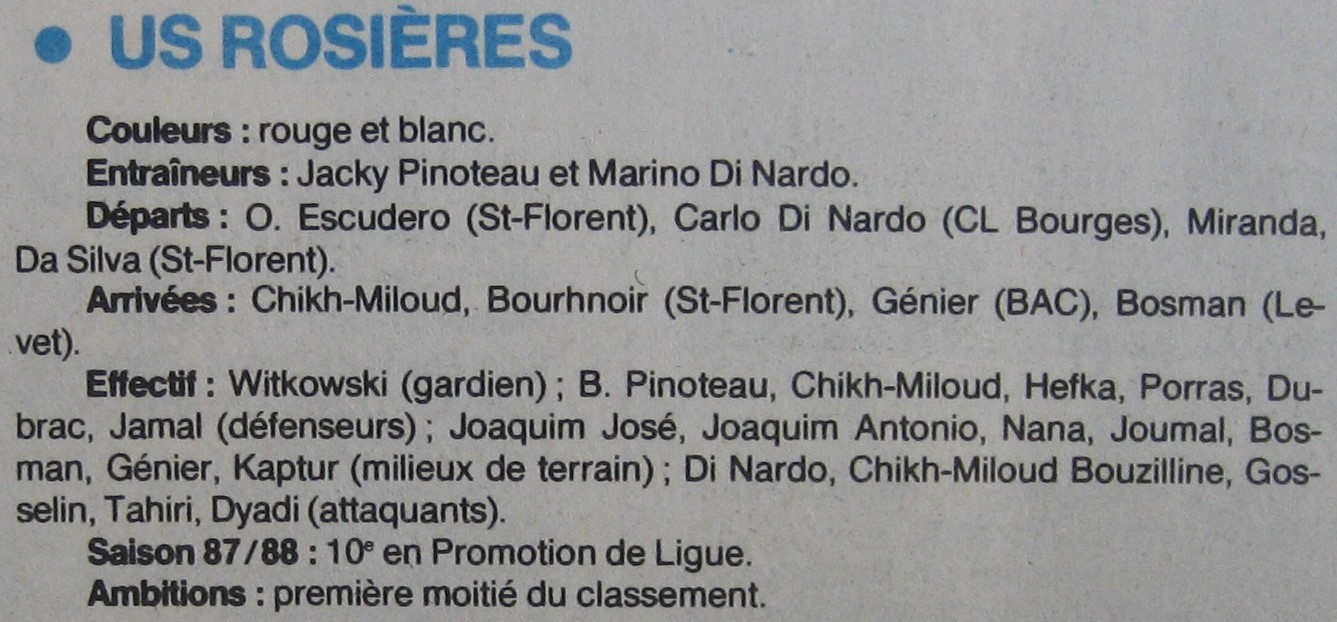 Effectif sénior PL 1988-89