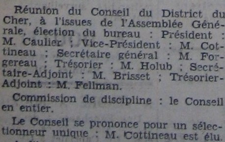 Bureau du District du Cher de football en 1938