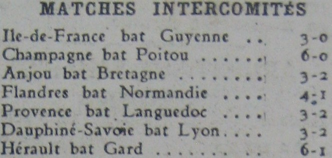 Matches intercomités en 1943