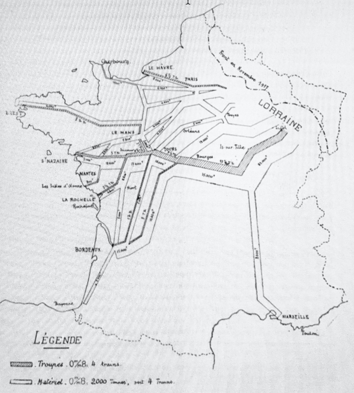 Lignes de communications de Pershing.