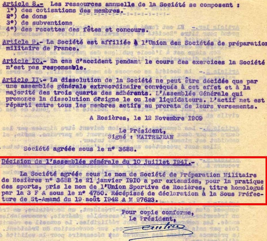 Modifications des statuts de l'association en 1942 (articles 8 à 11))