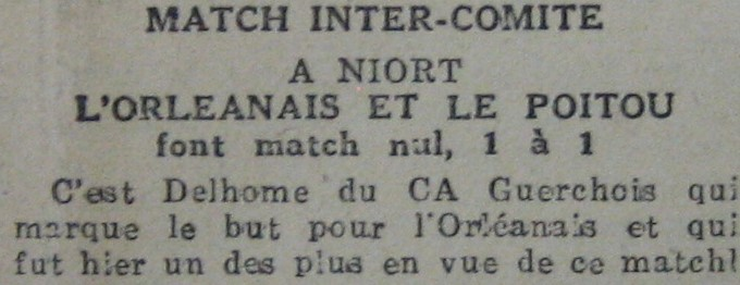 Match intercomité Poitou-Orléanais 1-1 du 19-03-44