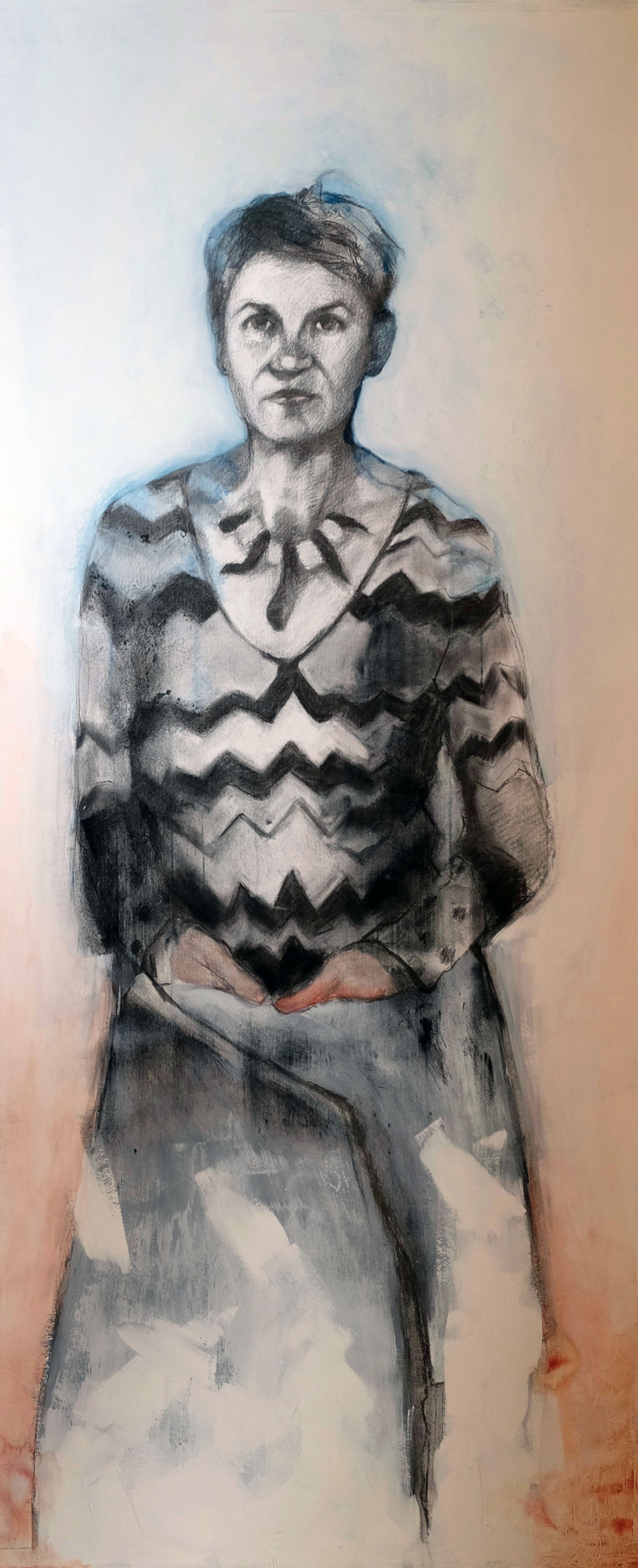 Charcoal and watercolour on paper, 120 x 60 cm
