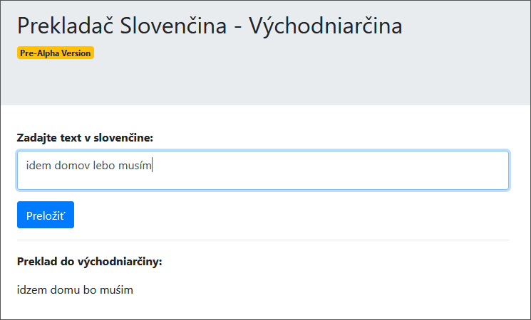 Slovak to Eastern Slovak Online Translator