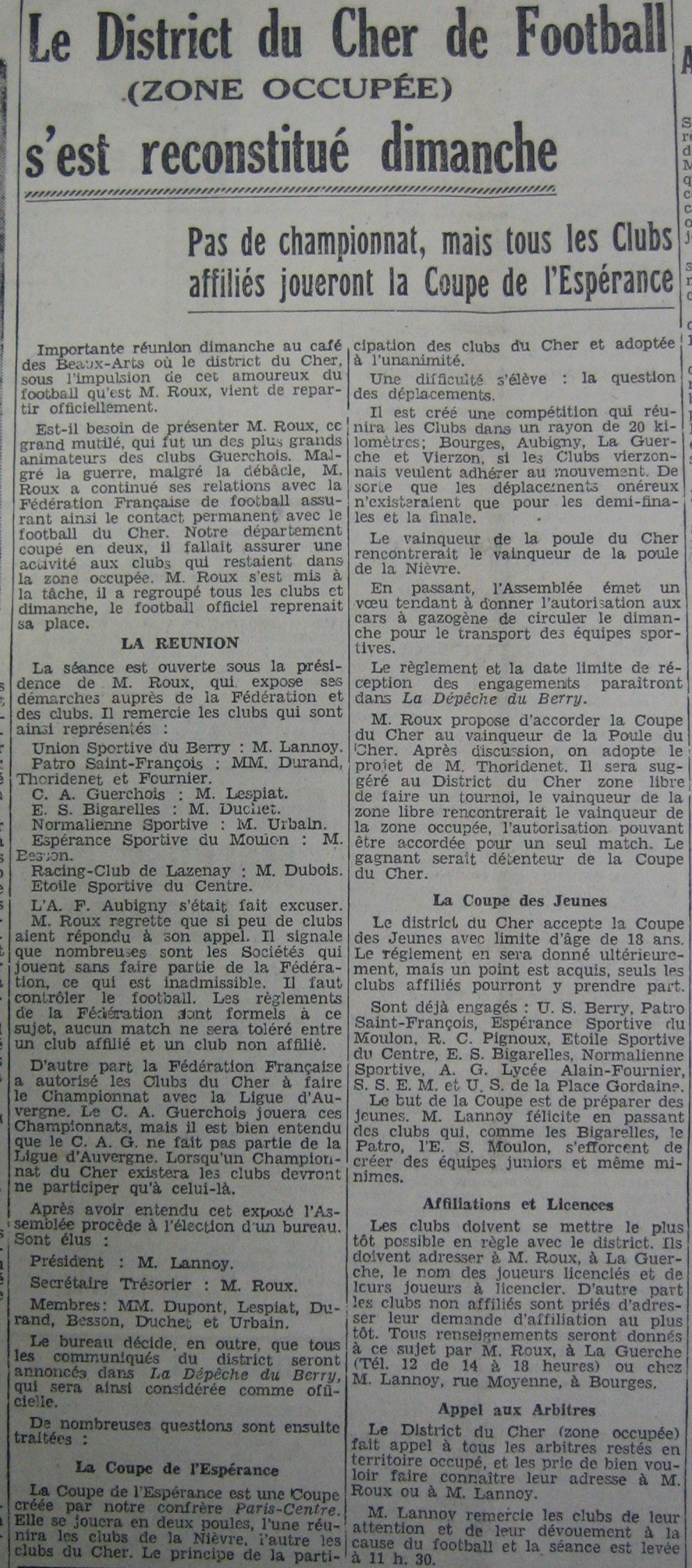 Nouveau bureau du District du Cher de football ZO 1940