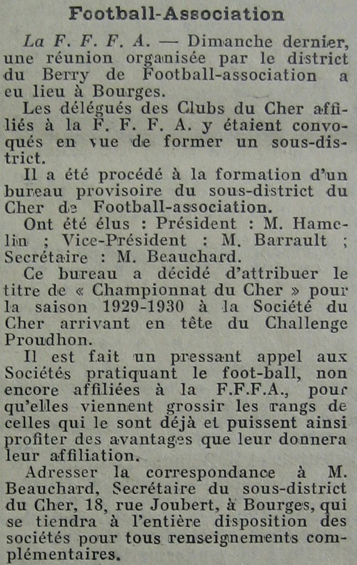 Création du sous-district du Cher de football le 06/10/29