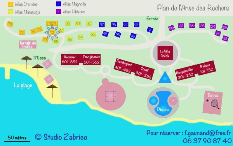 Plan du domaine de l' Anse des Rochers