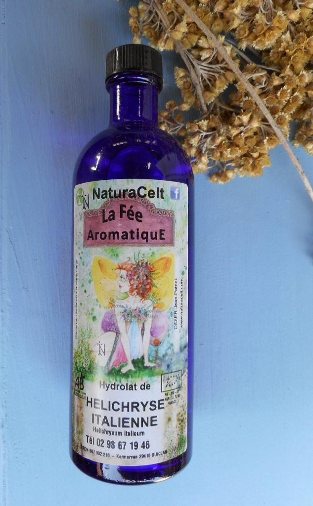 hydrolat d'hélichryse itallienne ou eau florale d'immortelle d'ital produite en bretage en directe du producteur