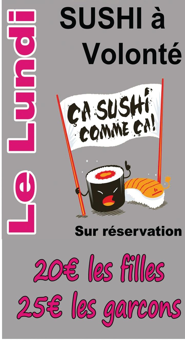 Menu du Lundi Sushi a volonté