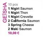 Menu Sushi Geisha