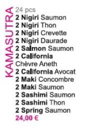 Menu Sushi KAMASUTRA