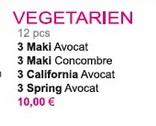 Menu Sushi vegetarien