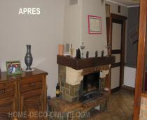 photo avant peinture et renovation salon cuir rouge murs jaunes table carrelée