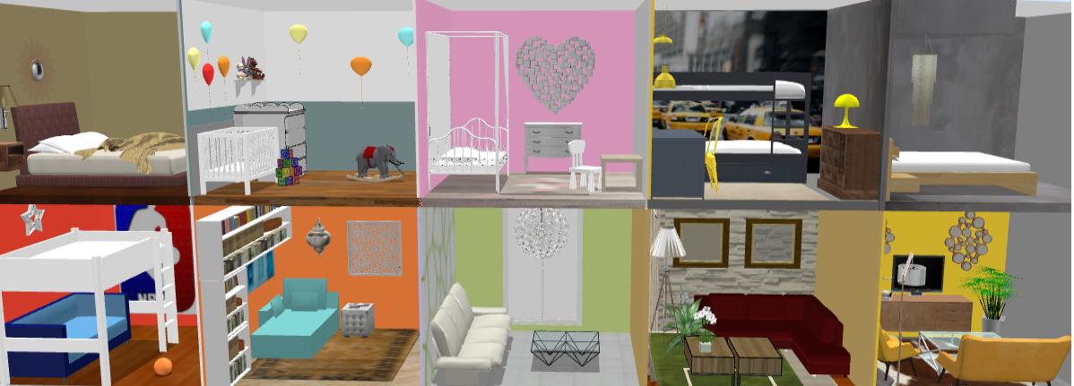 simulation 3d textures et styles variés