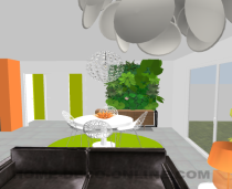 photo après déco  du salon vers la salle à manger mur végétal maskros chaises aurora kartel  ikea sâter  décoration en cours autres photos à venir