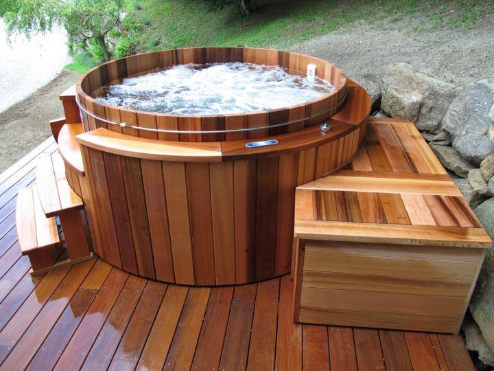 Spa En Bois : jacuzzi exterieur bois rond ~ Nature-et-papiers.com Idées de Décoration
