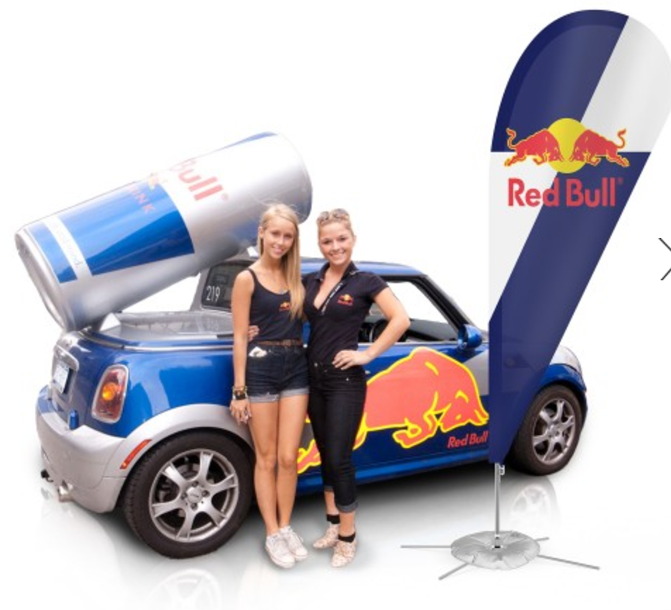 automotive redbull flag car