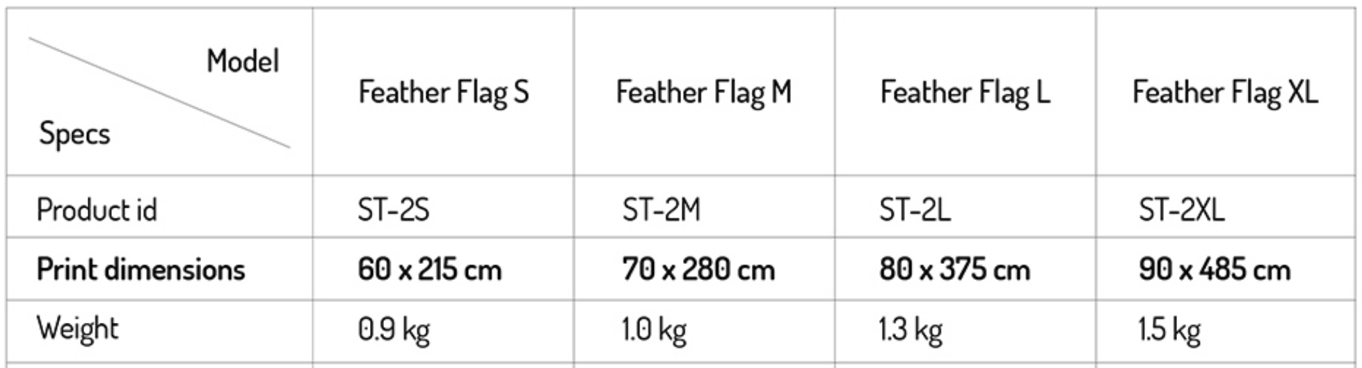feather flag size
