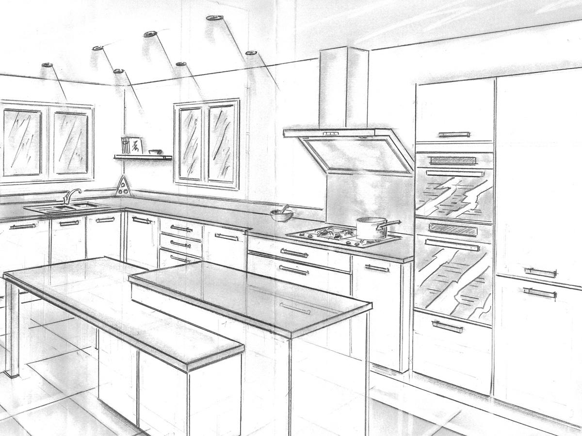 Cuisine moderne dessin for Dessin cuisine