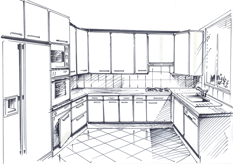 Dessiner En Perspective Une Cuisine Photos De Conception