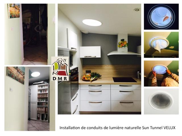 installation pose de conduits de lumi re sun tunnel de chez velux. Black Bedroom Furniture Sets. Home Design Ideas