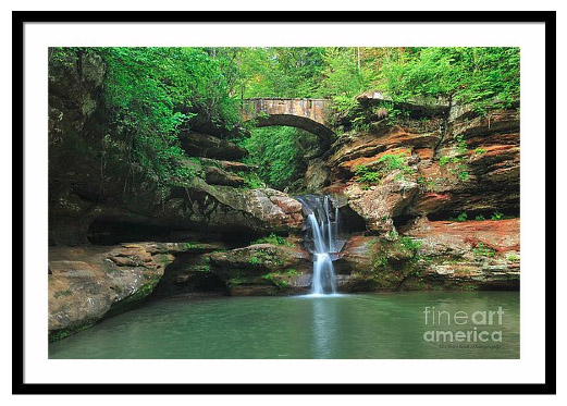 Framed photo of Upper Falls, a waterfall at Old Man's Cave in Hocking Hills State Park, near Logan, Ohio.