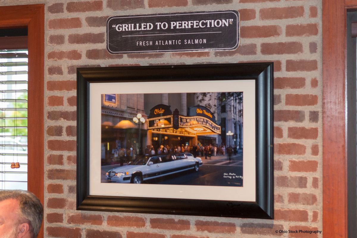 Framed photo of a limo in front of the Ohio Theatre in Columbus, Ohio.