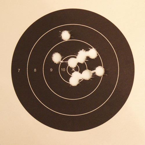 50 yard group, shot with bullets cast of linotype.