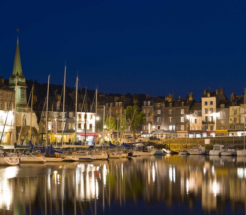 Honfleur, the Old Harbour at night.