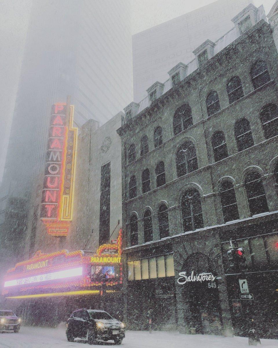 La Paramount de Boston sous des chutes de neige