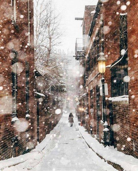 Rue de Boston sous la neige