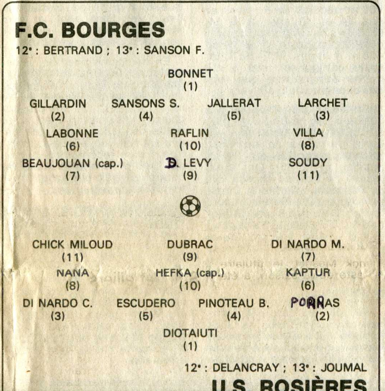 Composition match F.C. Bourges contre U.S. Rosières