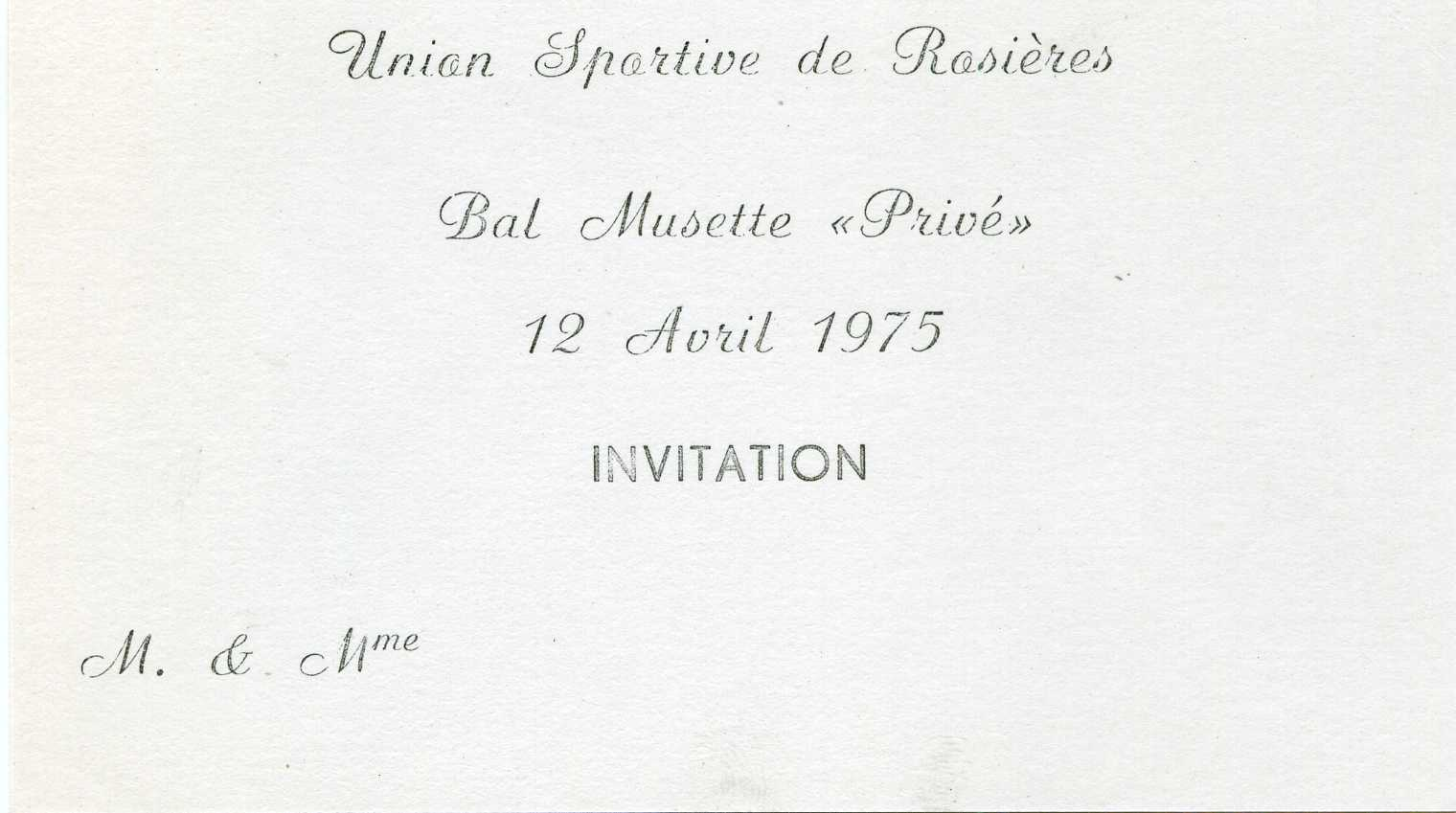 Invitation Bal Musette du 12 Avril 1975