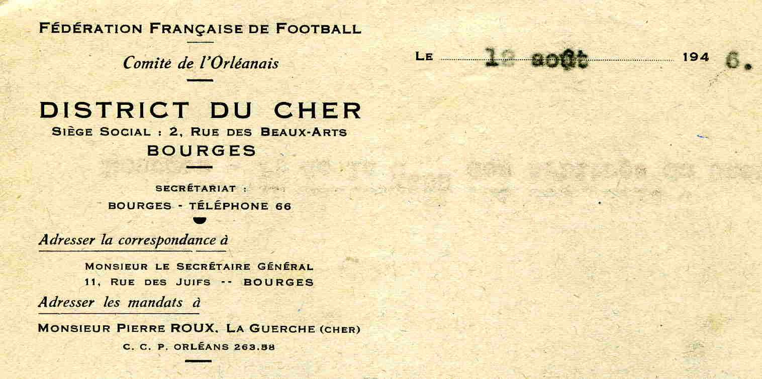 En-tête District du Cher de football 1946