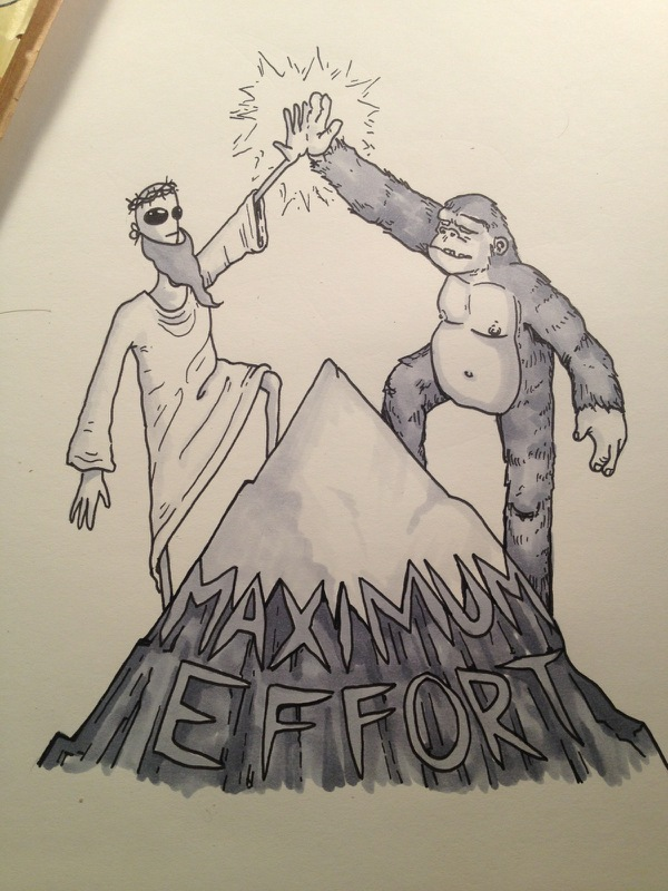 Alien Jesus and Bigfoot  giving high five atop a mountain. Art by SeaBee Bess