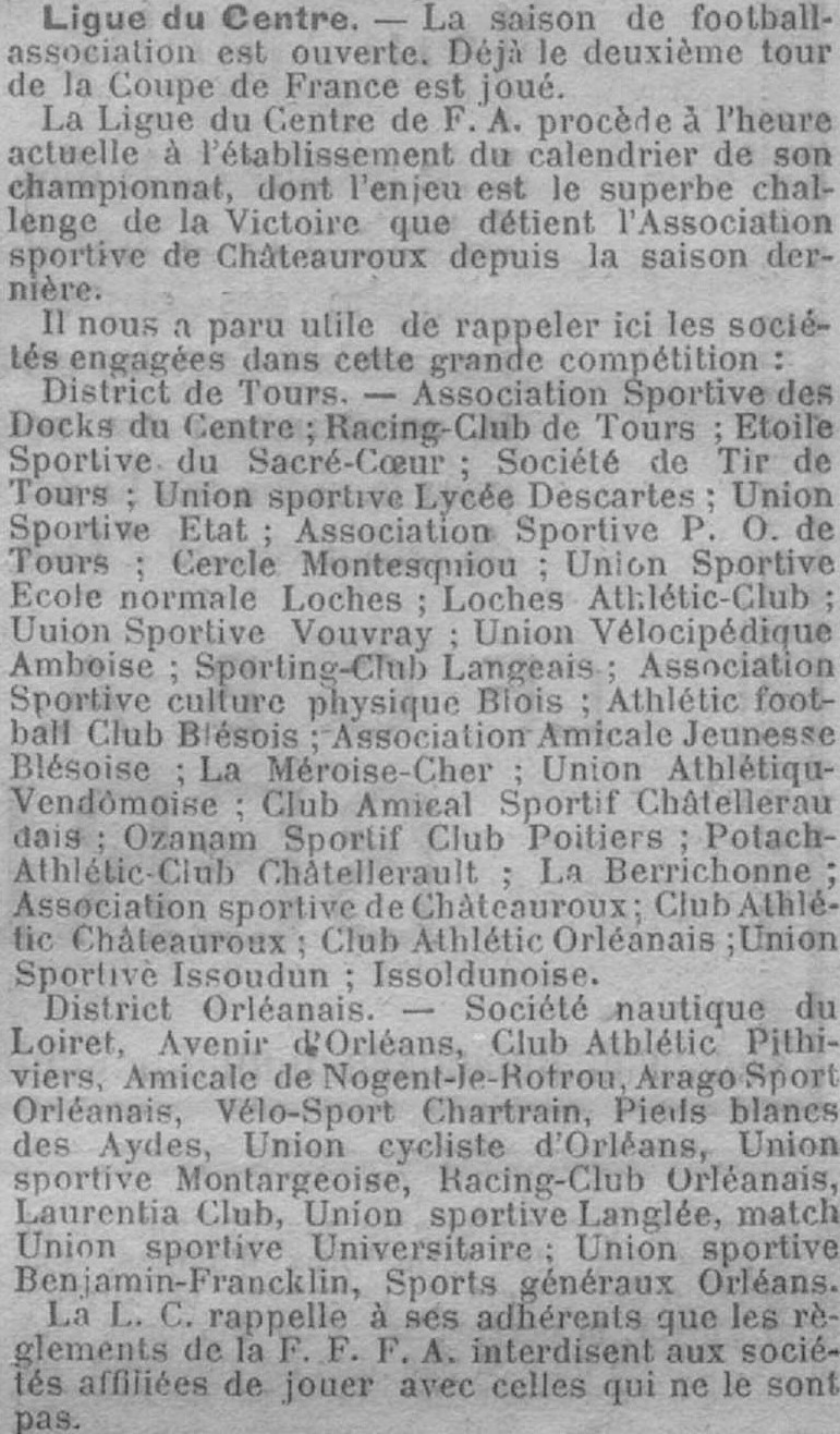 Participants aux championnats de la Ligue du Centre de Football Association 1920-21
