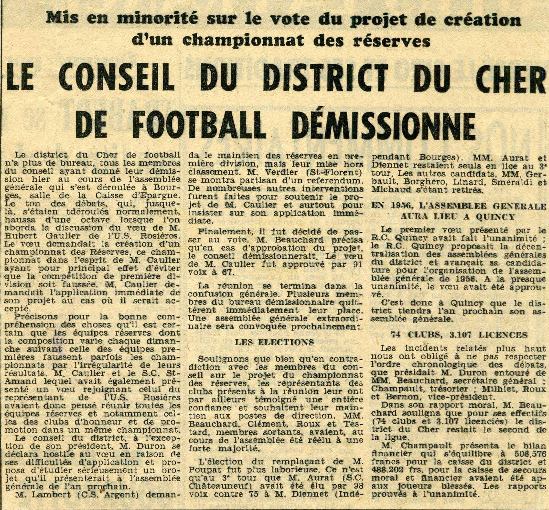 AG du District du Cher de football tumultueux