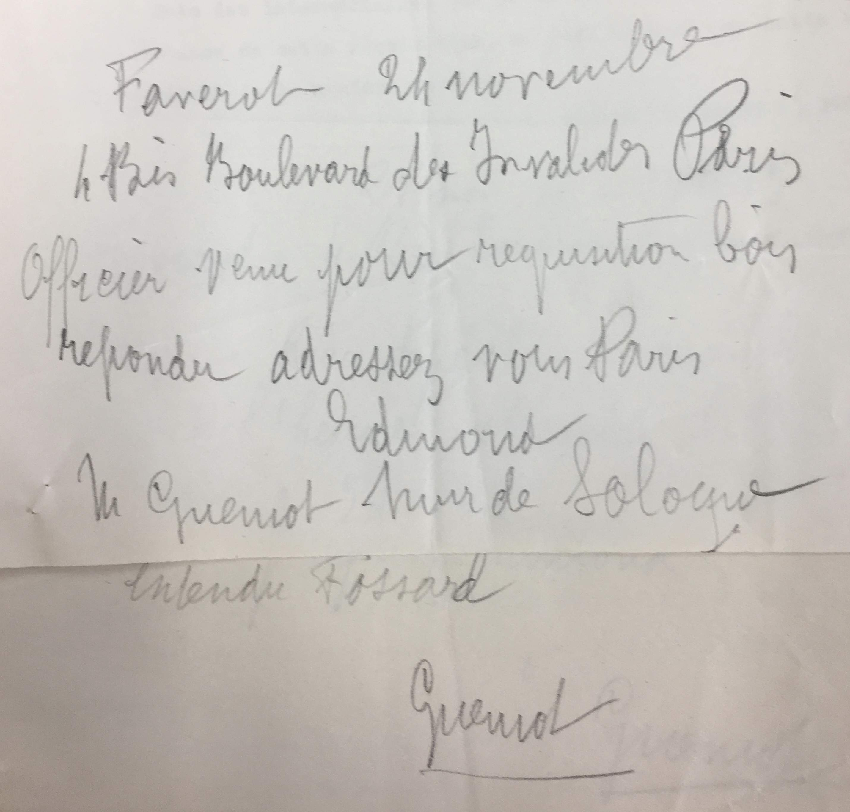 Transcription d'un télégramme.