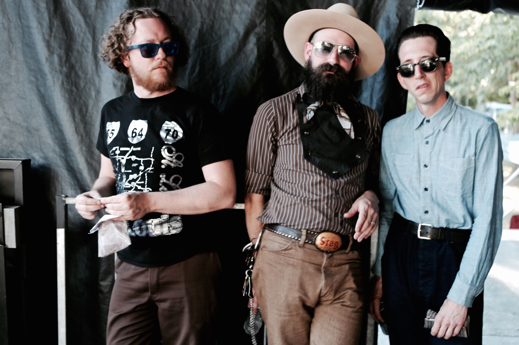 Pokey Lafarge, Ryan Koenig, and Myself chillin minutes before  a performance. Photo by Nate Burrell
