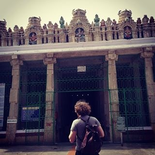 Me in front of a temple in Bangalore. Photo by Chloe Feoranzo