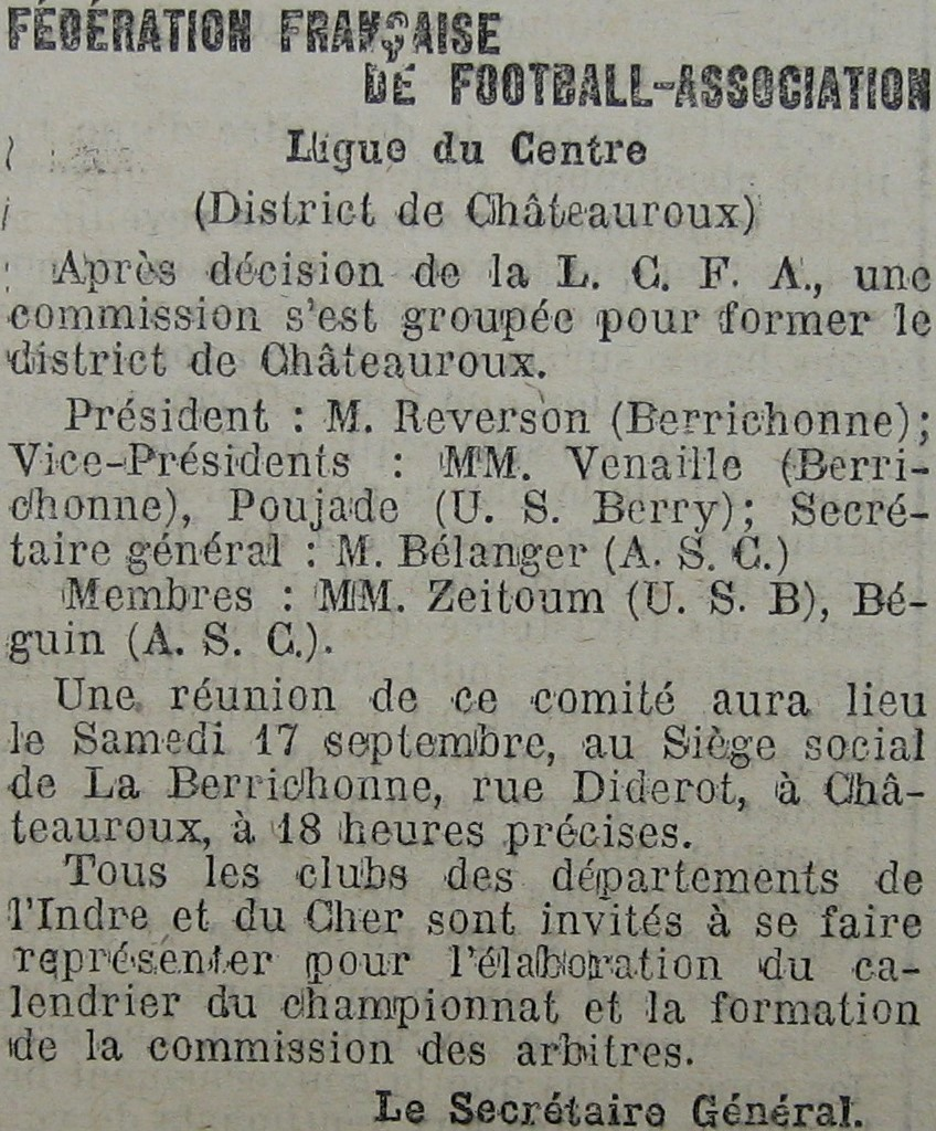 Formation du District de Châteauroux le 22/09/1921