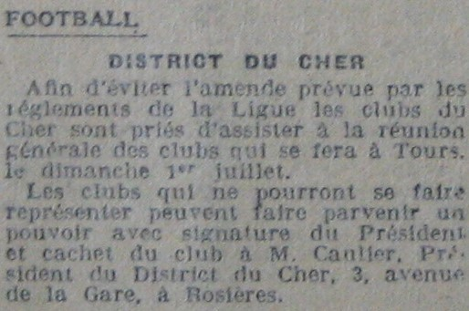 Présidence du District du Cher de football