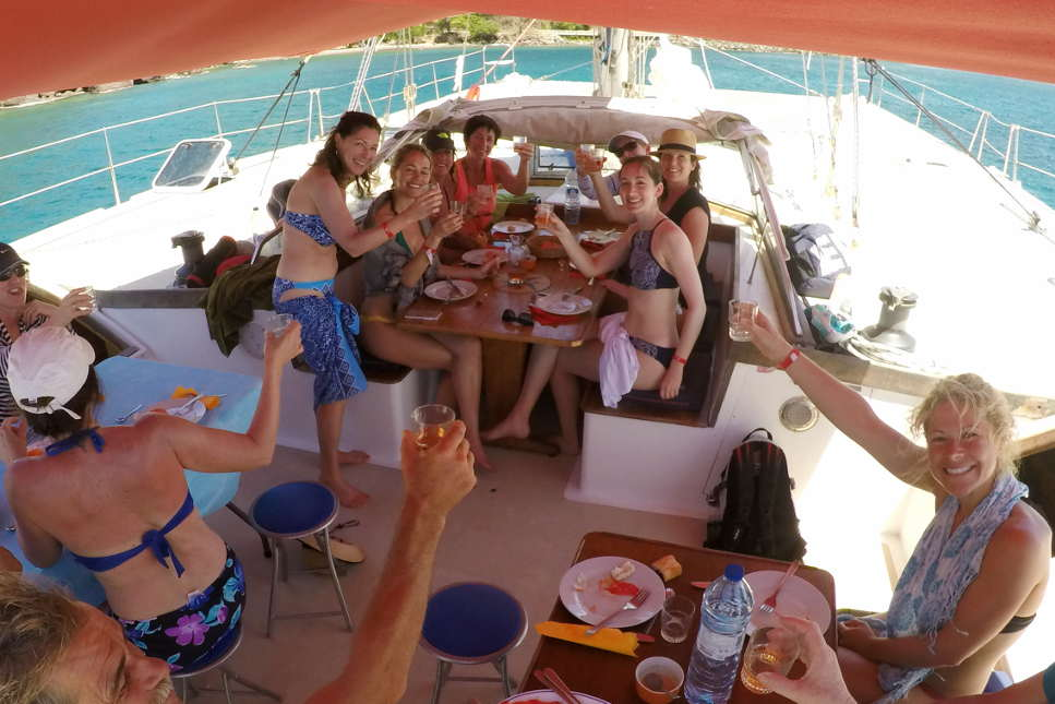 Lunch on Talamanca's cockpit, seatour in Guadeloupe
