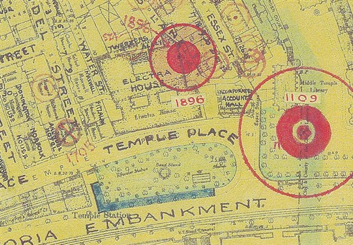 The map shows damage extent after the v1 attack - Image Copyright Westminster City Archives